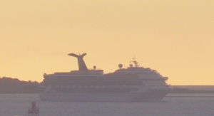 Carnival Glory approaches Boston. (c) Lisa Plotnick and NauticalNotebook.com